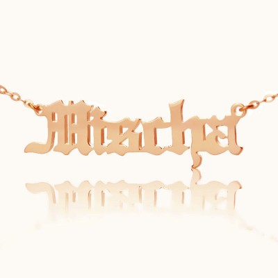 Mischa Barton Style Old English Font Name Necklace 18ct Rose Gold Plated - Crafted By Birthstone Design™