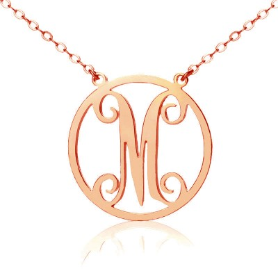 Solid Rose Gold 18ct Single Initial Circle Monogram Necklace - Crafted By Birthstone Design™