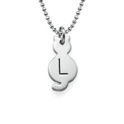 Tiny Cat Necklace with Initial in Sterling Silver - Crafted By Birthstone Design™