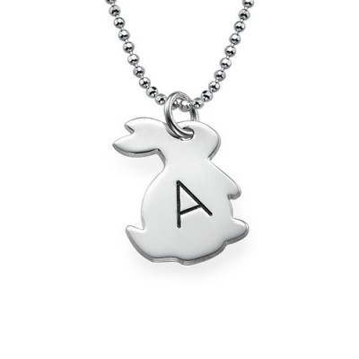 Tiny Rabbit Necklace with Initial in Silver - Crafted By Birthstone Design™
