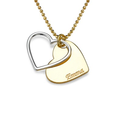 Personalised Two Tone Heart Necklace for Couples - Crafted By Birthstone Design™
