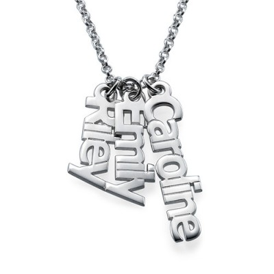 Vertical Name Necklace in Sterling Silver - Crafted By Birthstone Design™