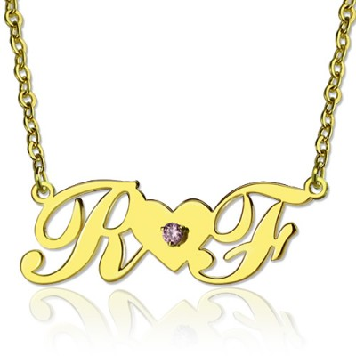 18ct Gold Plated Two Initials Necklace - Crafted By Birthstone Design™
