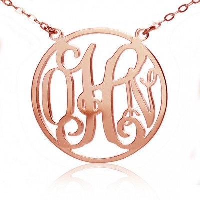 Circle 18ct Solid Rose Gold Initial Monogram Name Necklace - Crafted By Birthstone Design™