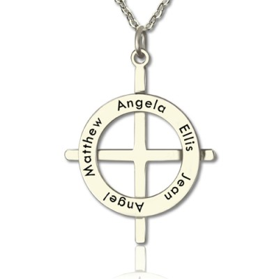 Silver Latin Style Circle Cross Necklace with Any Names - Crafted By Birthstone Design™