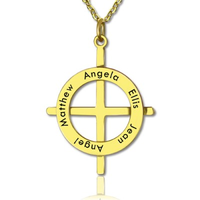 Gold Plated Silver Latin Style Circle Cross Necklace with Any Names - Crafted By Birthstone Design™