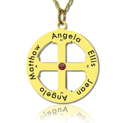 Cross Name Necklace with Circle Frame 18ct Gold Plated 925 Silver - Crafted By Birthstone Design™