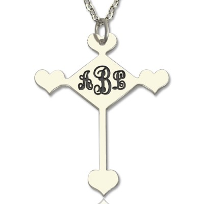 Sterling Silver Cross Monogram Necklace - Crafted By Birthstone Design™