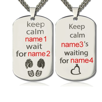 Personalised Cute His and Hers Dog Tag Necklaces Sterling Silver - Crafted By Birthstone Design™