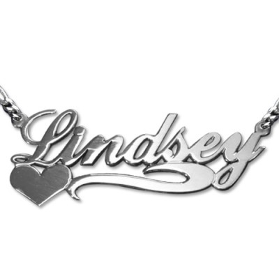 Double Thickness Side Heart Silver Name Necklace - Crafted By Birthstone Design™
