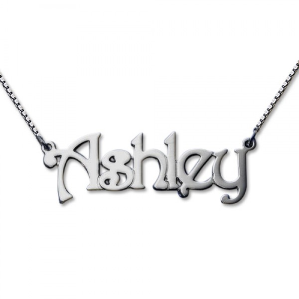 Harrington Style Sterling Silver Name Necklace - Crafted By Birthstone Design™