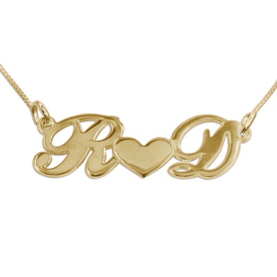 Couples Heart Necklace in 18ct Gold Plating - Crafted By Birthstone Design™