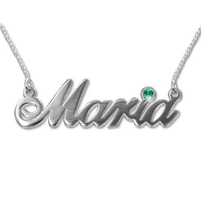 18ct white Gold and Swarovski Crystal Name Necklace - Crafted By Birthstone Design™