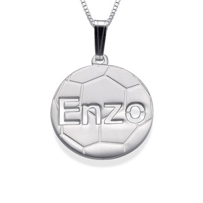 Sterling Silver Personlised Football Pendant - Crafted By Birthstone Design™