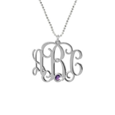 Sterling Silver Monogram Necklace with Swarovski - Crafted By Birthstone Design™