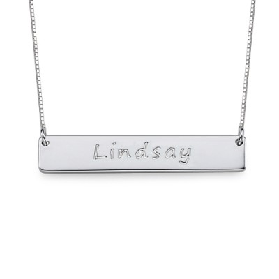 Sterling Silver Bar Nameplate Necklace - Crafted By Birthstone Design™