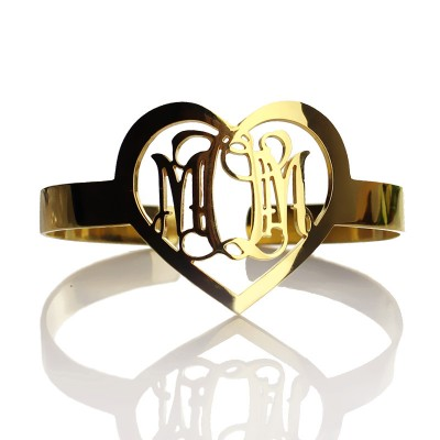 Personal Gold Plated Silver 3 Initials Monogram Bracelets With Heart - Crafted By Birthstone Design™