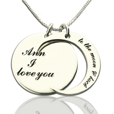 Personalised I Love You to the Moon and Back Love Necklace Sterling Silver - Crafted By Birthstone Design™