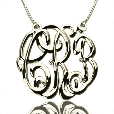 Celebrity Cube Premium Monogram Necklace Gifts Sterling Silver - Crafted By Birthstone Design™