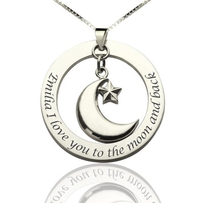 I Love You To The Moon and Back Moon  Start Charm Pendant - Crafted By Birthstone Design™