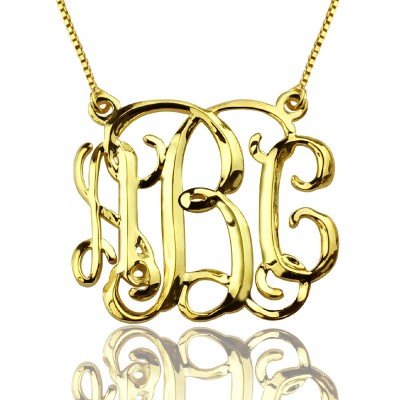 Custom Cube Monogram Initials Necklace 18ct Gold Plated - Crafted By Birthstone Design™