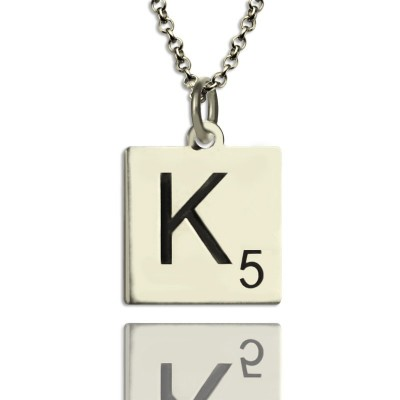 Scrabble Initial Letter Necklace Sterling Silver - Crafted By Birthstone Design™