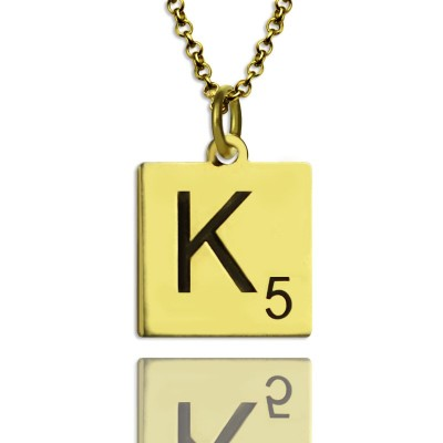 Engraved Scrabble Initial Letter Necklace 18ct Gold Plated - Crafted By Birthstone Design™