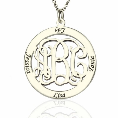 Personalised Family Monogram Name Necklace Sterling Silver - Crafted By Birthstone Design™