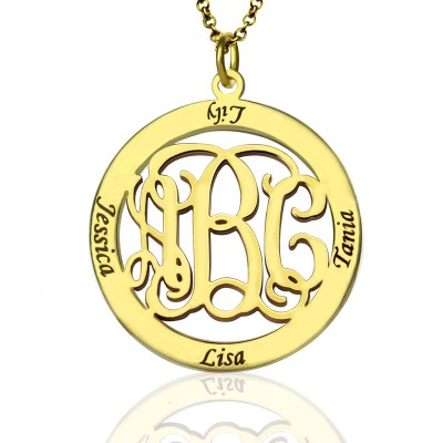 Family Monogram Name Necklace In 18ct Gold Plated - Crafted By Birthstone Design™