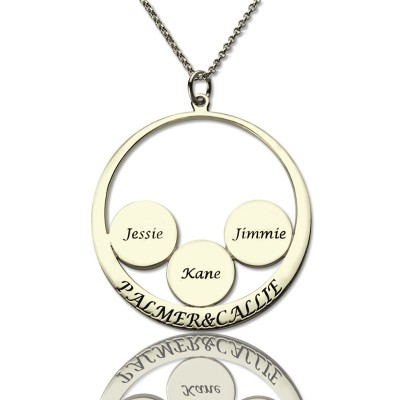 Personalised Family Name Pendant For Mom Silver - Crafted By Birthstone Design™