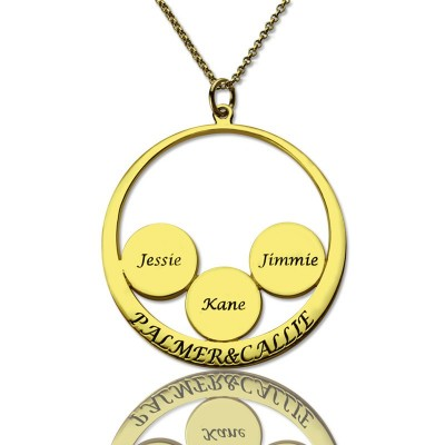 Mothers Family Name Pendant In Gold - Crafted By Birthstone Design™