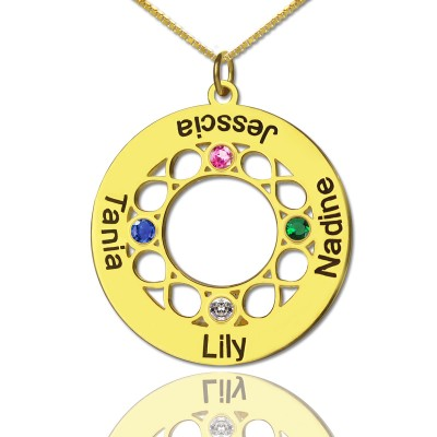 Infinity Birthstone Family Names Necklace In 18ct Gold Plated  - Crafted By Birthstone Design™