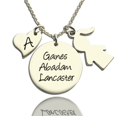 Mother Necklace Gift With Kids Name Charm Sterling Silver - Crafted By Birthstone Design™