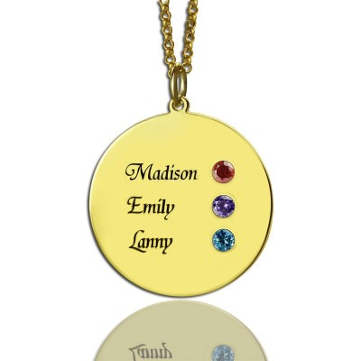Custom Disc Necklace Engraved Names For Mom - Crafted By Birthstone Design™