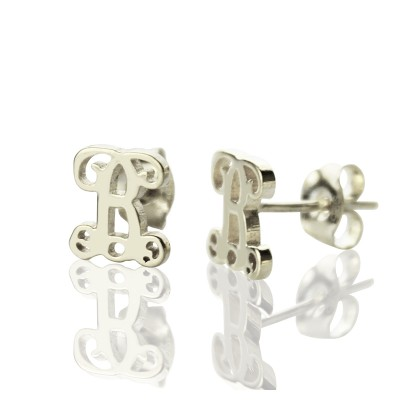 Personalised Single Monogram Stud Earrings Sterling Silver - Crafted By Birthstone Design™
