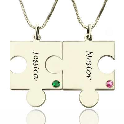 Engraved Puzzle Necklace for Couples Love Necklaces Silver - Crafted By Birthstone Design™