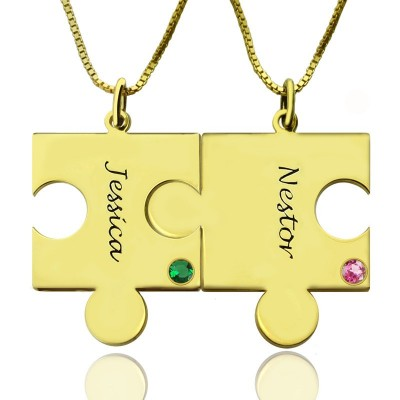 Matching Puzzle Necklace for Couple With Name  Birthstone 18ct Gold Plate  - Crafted By Birthstone Design™