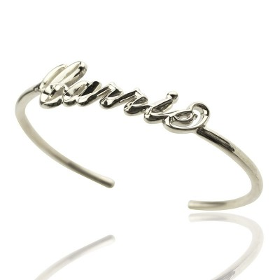 Personalised Sterling Silver Name Bangle Bracelet - Crafted By Birthstone Design™