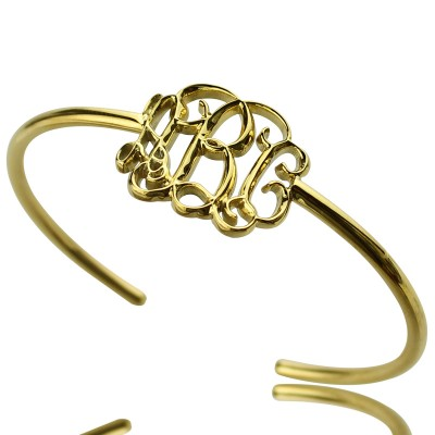 Personalised Celebrity Monogram Initial Bangle 18ct Gold Plated - Crafted By Birthstone Design™