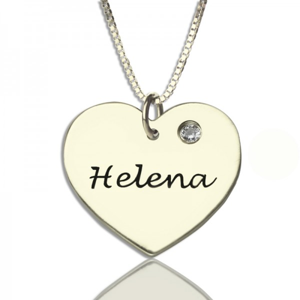 Sterling Silver Simple Heart Name Necklace with Birthstone  - Crafted By Birthstone Design™
