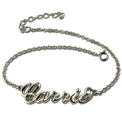 Sterling Silver Women's Name Bracelet  Carrie Style - Crafted By Birthstone Design™
