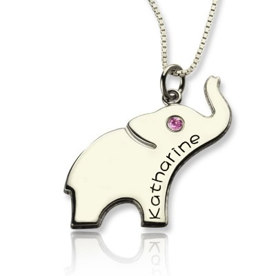 Good Luck Gifts - Elephant Necklace Engraved Name - Crafted By Birthstone Design™