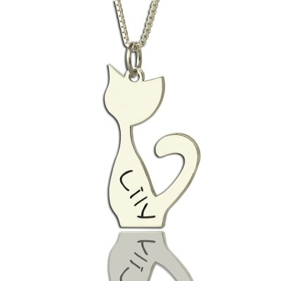 Personalised Cat Name Charm Necklace in Silver - Crafted By Birthstone Design™