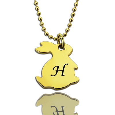 Tiny Rabbit Initial Charm Necklace 18ct Gold Plated - Crafted By Birthstone Design™