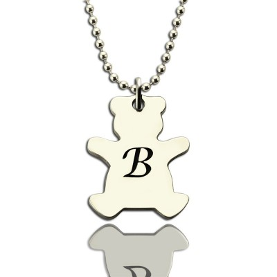 Personalised Teddy Bear Initial Necklace Sterling Silver - Crafted By Birthstone Design™