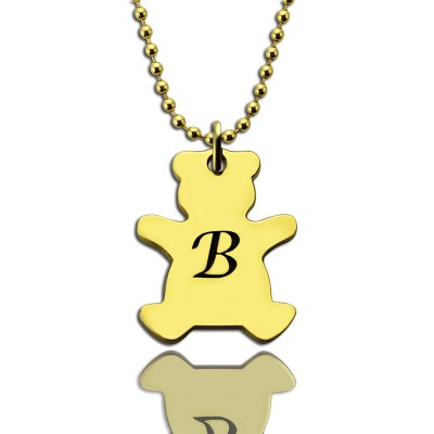 Cute Teddy Bear Initial Charm Necklace 18ct Gold Plated - Crafted By Birthstone Design™