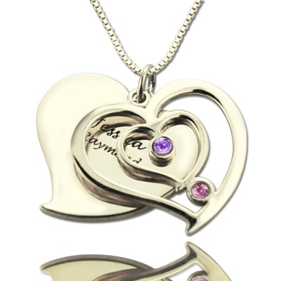 Personalised Couples Birthstone Heart Name Necklace  - Crafted By Birthstone Design™