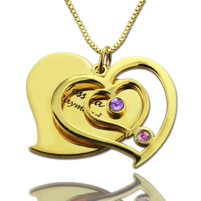 His  Her Birthstone Heart Name Necklace 18ct Gold Plated  - Crafted By Birthstone Design™