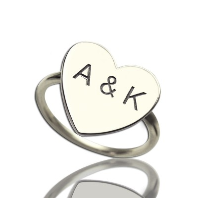 Engraved Sweetheart Ring with Double Initials Sterling Silver - Crafted By Birthstone Design™