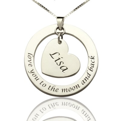 Custom Promise Necklace with Name  Phrase Sterling Silver - Crafted By Birthstone Design™